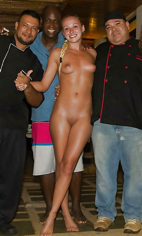 Showing Her Off Nude In A Crowd Nudeshots