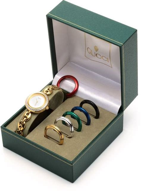 gucci interchangeable bezel   gold lyst