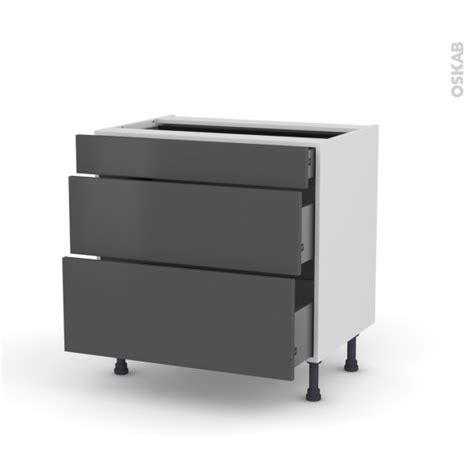 casserolier cuisine meuble de cuisine casserolier ginko gris 3 tiroirs l80 x