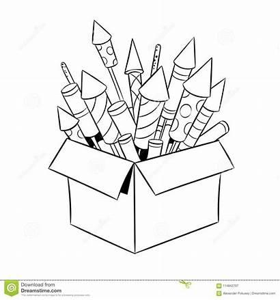 Fireworks Coloring Box Vector Retro Rockets Cartoon