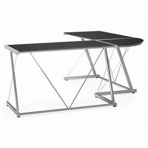Bureau Angle Verre : bureau d 39 angle design rovigo en verre tremp et m tal noir ~ Teatrodelosmanantiales.com Idées de Décoration