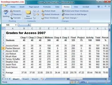 microsoft tutorial excel review tab