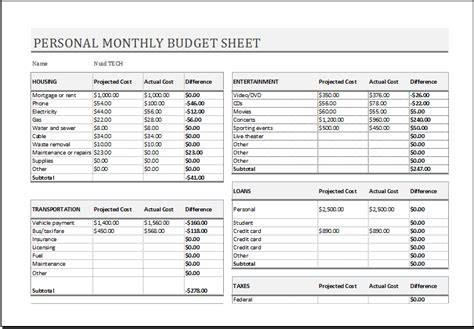 Sheets Budget Template Personal Monthly Budget Sheet For Ms Excel Excel Templates
