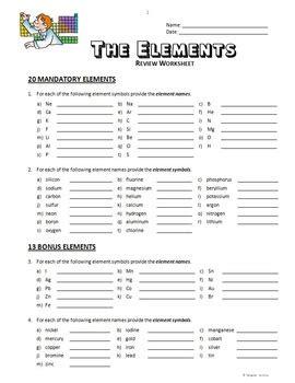 elements review worksheet editable  tangstar science