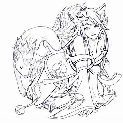 Kitsune Drawing Ferret Drawings Lineart Deviantart Coloring