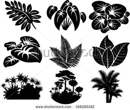 vector set  jungle icons  tropical trees plants