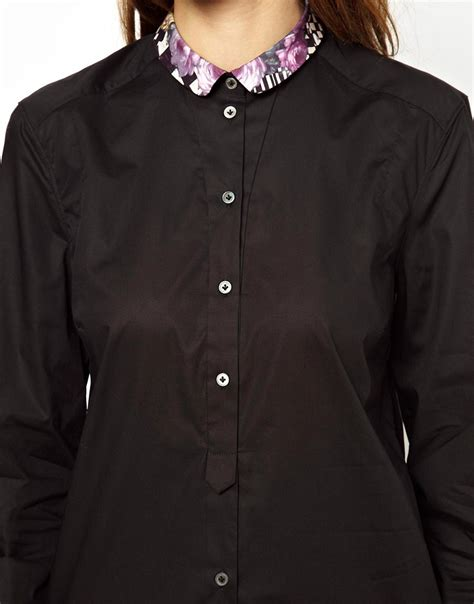 paul by paul smith paul by paul smith stretch poplin shirt with printed collar at asos
