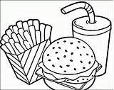 Coloring Fries Hamburger French Pages sketch template