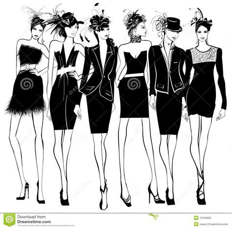 women fashion models  black dress  feather hat stock