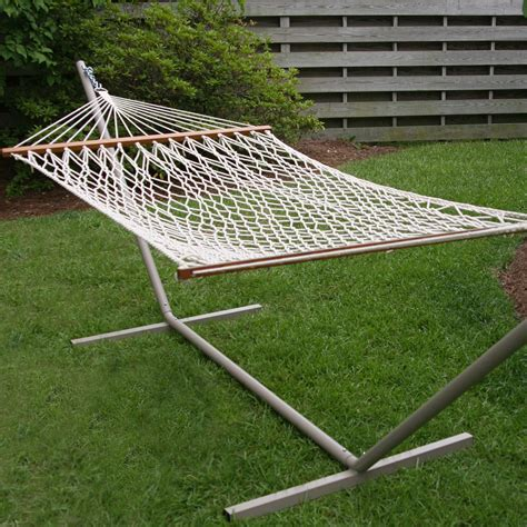 castaway small cotton rope hammock with stand dfohome