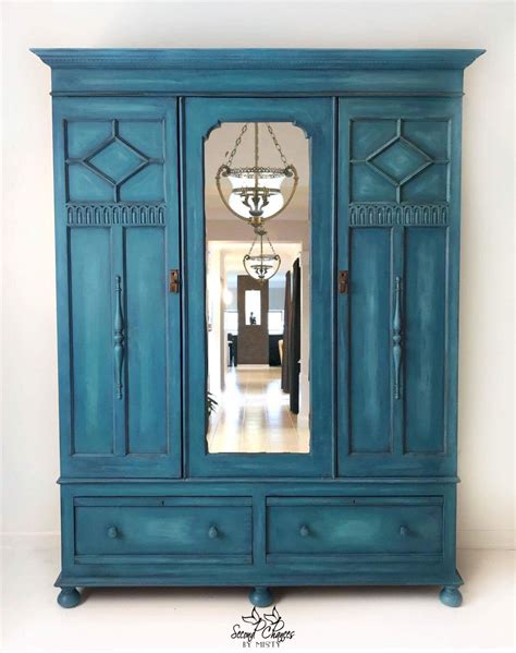 Painted Armoire Furniture Peacock Blue Painted Wardrobe Painted In Sloan