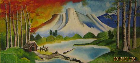 gambar lukisan pemandangan desa kaligrafi mampu milik