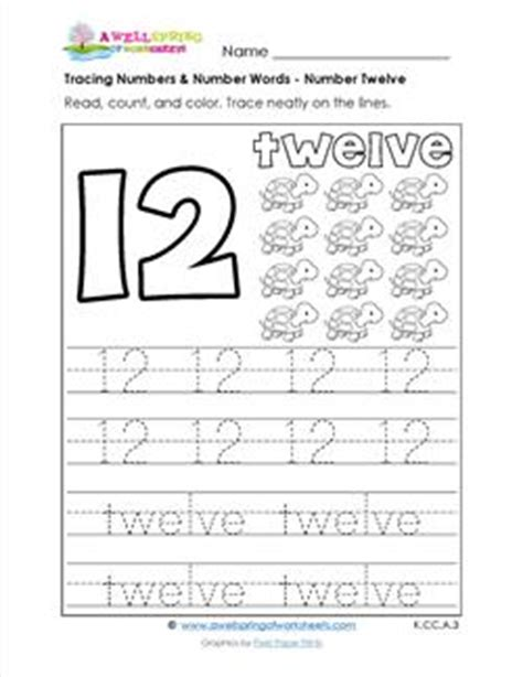 tracing numbers and number words number 12