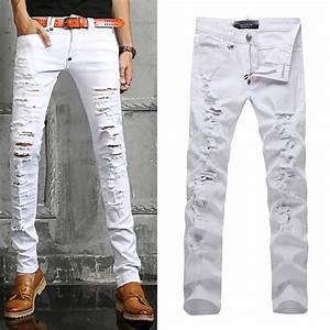 White Ripped Jeans For Men Ye Jean