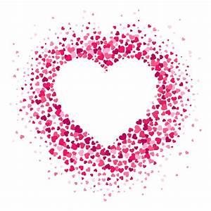 Love, Heart, Frame, Scattered, Hearts, Confetti, In, Heart, Shape