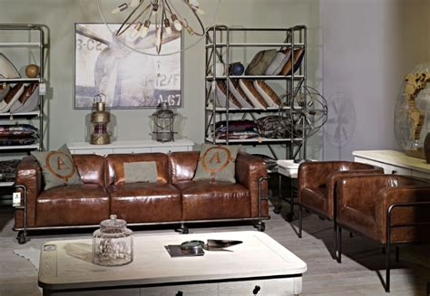 industrial vintage leather le corbusier sofa set