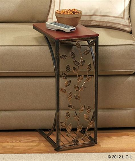 side sofa table  stock tray laptop portable wood metal  tv fits  couch ebay