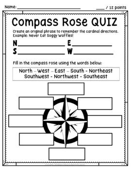 compass worksheet quiz posters cardinal
