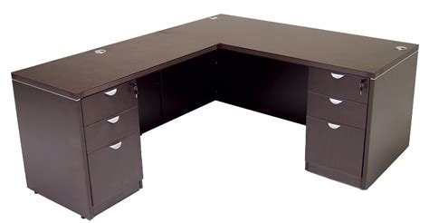l desk with drawers glass front mocha conference desk