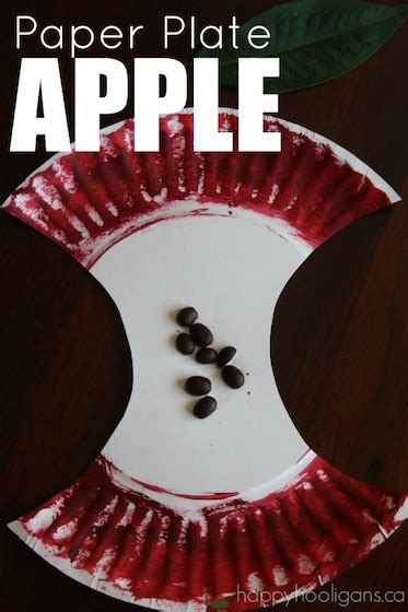 paper plate apple craft  preschoolers happy hooligans