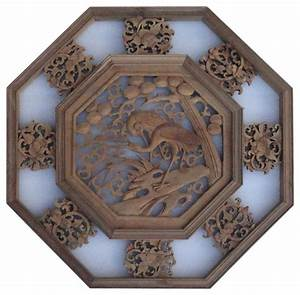 Chinese wood carved octagonal ry wall decor panel
