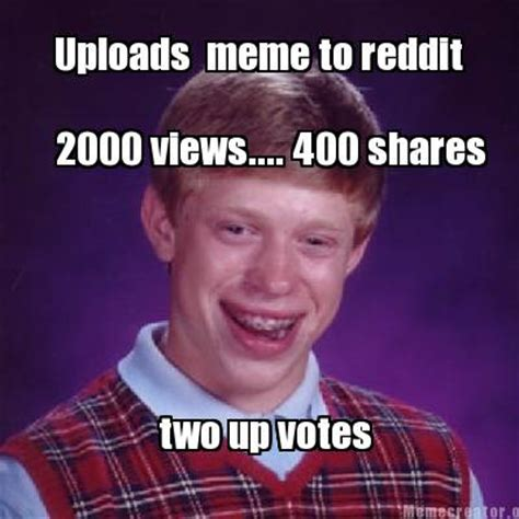 Meme Creatro - meme creator 2000 views 400 shares uploads meme to reddit two up votes meme generator at