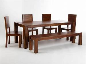 table 200x90 avec banc et 4 chaises monrovia pour salle a With meuble salle À manger avec chaise pour table en bois