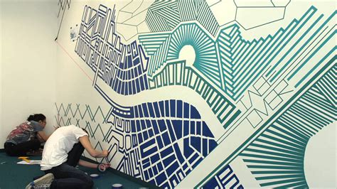 tape art  tape  tape art mural blueprint