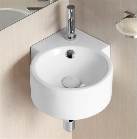 unique round wall mounted corner ceramic sink by caracalla
