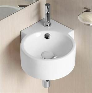 Unique round wall mounted corner ceramic sink by caracalla for Corner sink bathroom