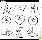 Parallelogram Coloring Shapes Geometric Basic Characters Cartoon Funny sketch template