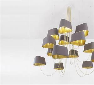 Grand Lustre Design : lustre 15 branches moyen nuage gris or 192cm h130cm ~ Melissatoandfro.com Idées de Décoration