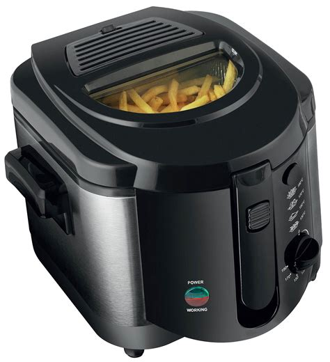 fryer deep fat chip electric pan non basket stick handle steel 2l brushed safe