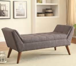 livingroom bench gray fabric tufted bench with wooden legs for living room with carpet tiles and wall built