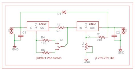 circuit design lm317 maximum resistor pot current regulator reference voltage electrical