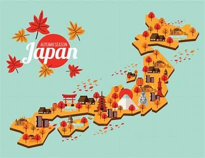 Japan Map Travel Vector Autumn Season Premium
