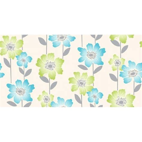 coloroll margarita floral wallpaper lime teal