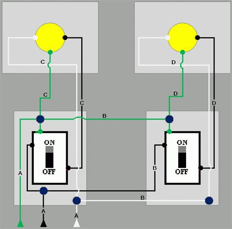 need help wiring two lights to two switches doityourself