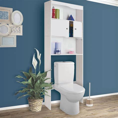 Plus simple à installer qu'une étagère murale et moins encombrant qu'une. Meuble étagère dessus wc bois coloris blanc Meubles et aménagement