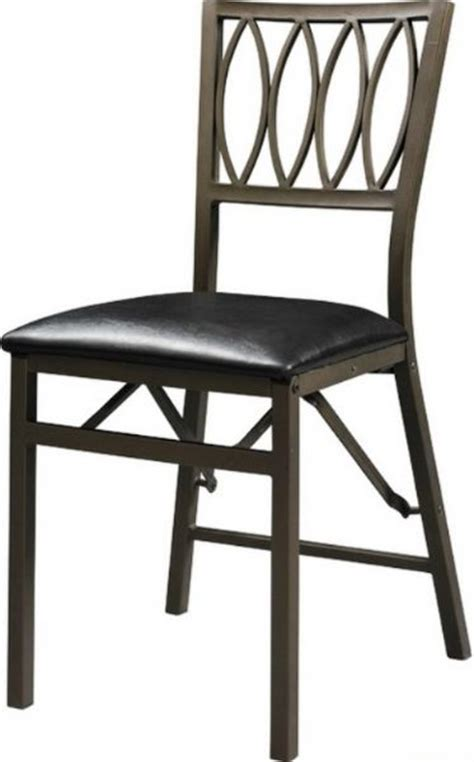 linon 43060mtl 02 as u arista ovals folding chair powder