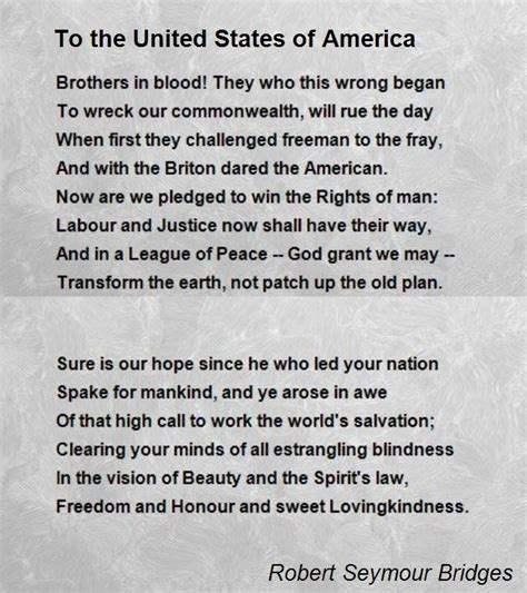 to the united states of america poem by robert seymour bridges poem