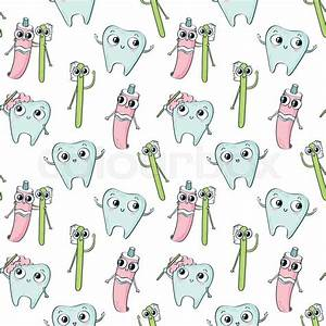 Vector seamless pattern with cute childish characters ...