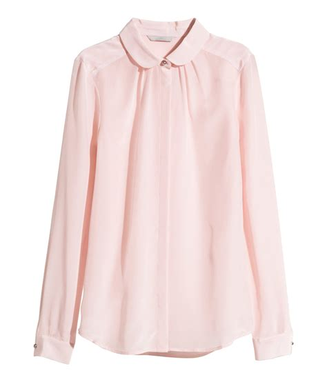 pink blouses h m silk blouse in pink lyst