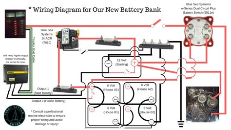 blue sea systems battery switch  acr   volt battery bank diagram  series