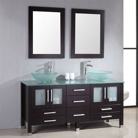 63 Inch Wide Contemporary Glass Double Vessel Sink Vanity