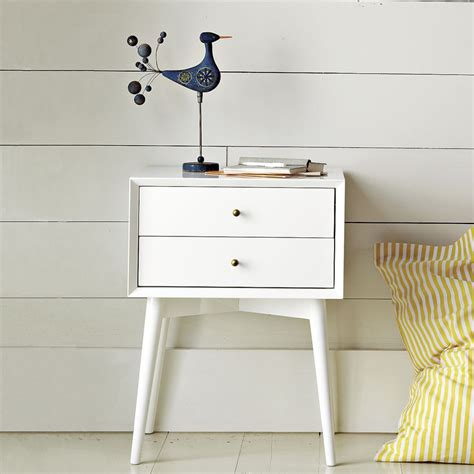 white mid century nightstand mid century bedside table white west elm uk