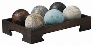 Wood, Balls, In, Tray, -, Traditional, -, Decorative, Objects, And, Figurines