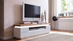 Design Tv Lowboard : lowboard 2 romina wei matt lack eiche massiv inkl led ~ Frokenaadalensverden.com Haus und Dekorationen