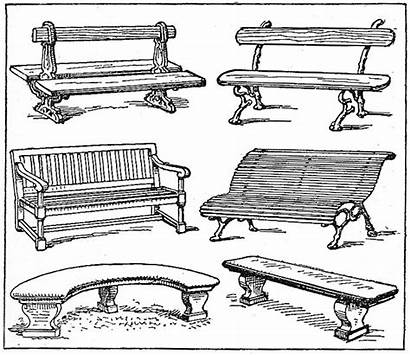 Bench Drawing Jardim Garden Bancos Sketch Benches