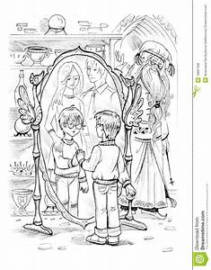Boy Looking In Magic Mirror And Seeing His Family There ...
